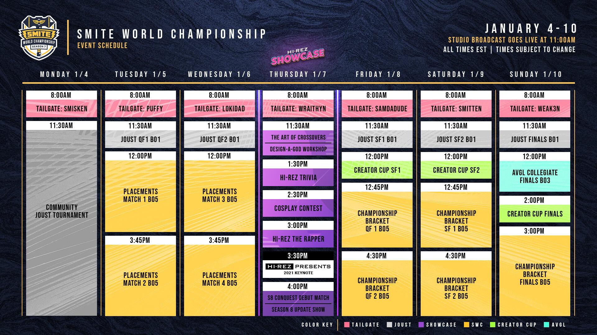 SWC SMITE Schedule